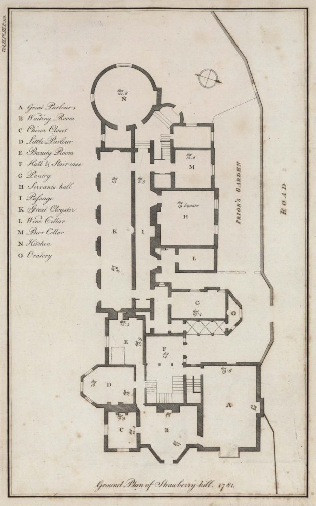 Ground Plan of Strawberry Hill, 1781 – Orleans House Gallery on brighton house plan, garden cottage southern living house plans, garden view cottage house plan,