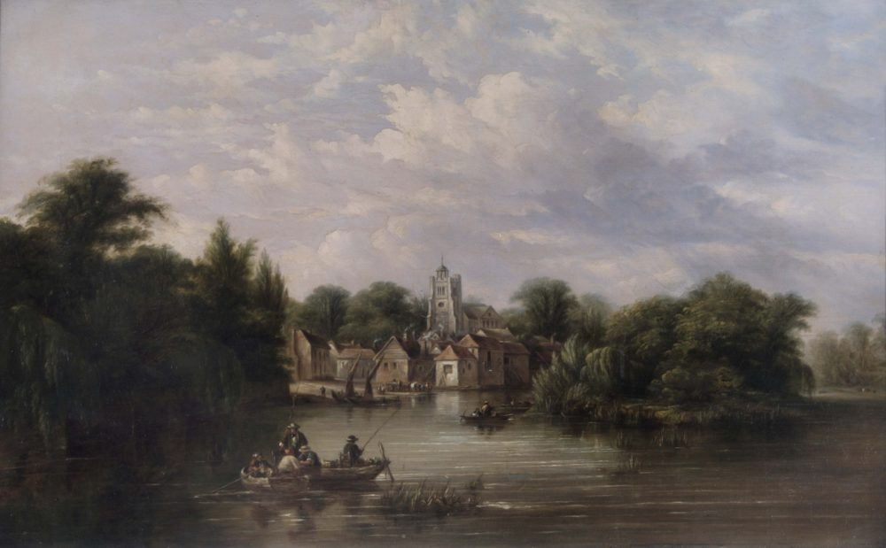 Twickenham Church the embankment and Eel Pie Island