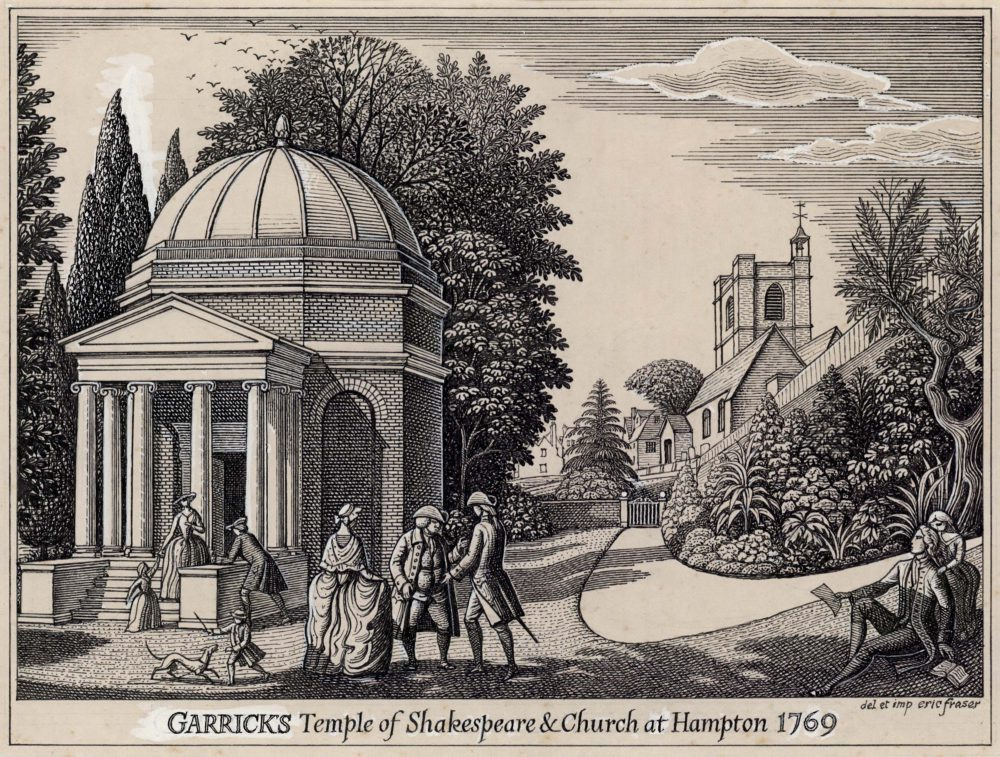 Garrick's Temple of Shakespeare and Church at Hampton 1769