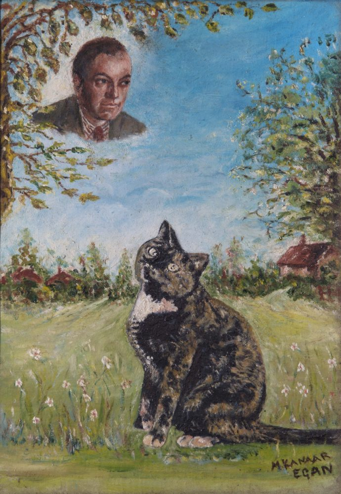 Santa – portrait of Beverley Nichols with cat gazing at him