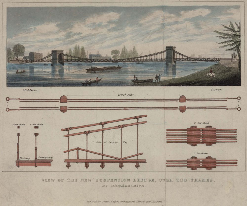 View of the New Suspension Bridge, over the Thames at Hammersmith