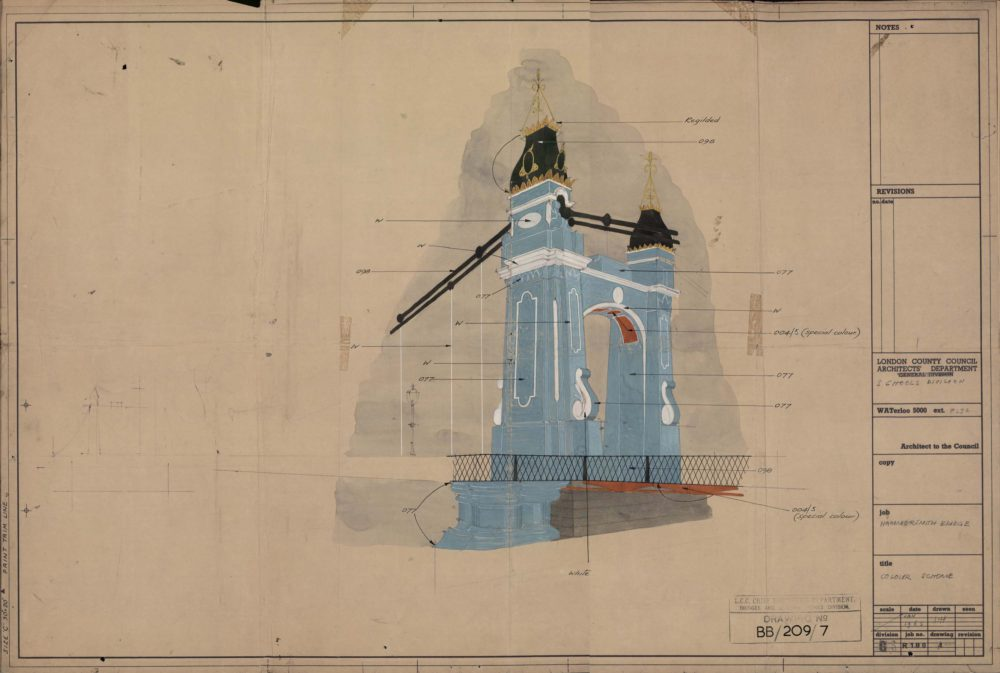 Coloured Perspective of proposed re-painting of Hammersmith Bridge from 1963