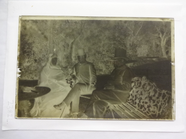 Sir Richard and Isabel Burton and another man sitting in the garden at Trieste