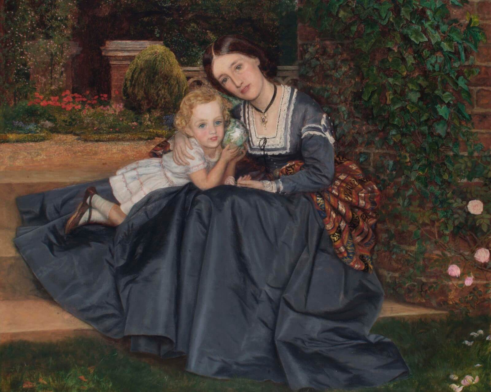 Arthur Hughes, Mother and Child Seated in a Garden, c. 1870, Oil on canvas, Richmond Borough Art Collection