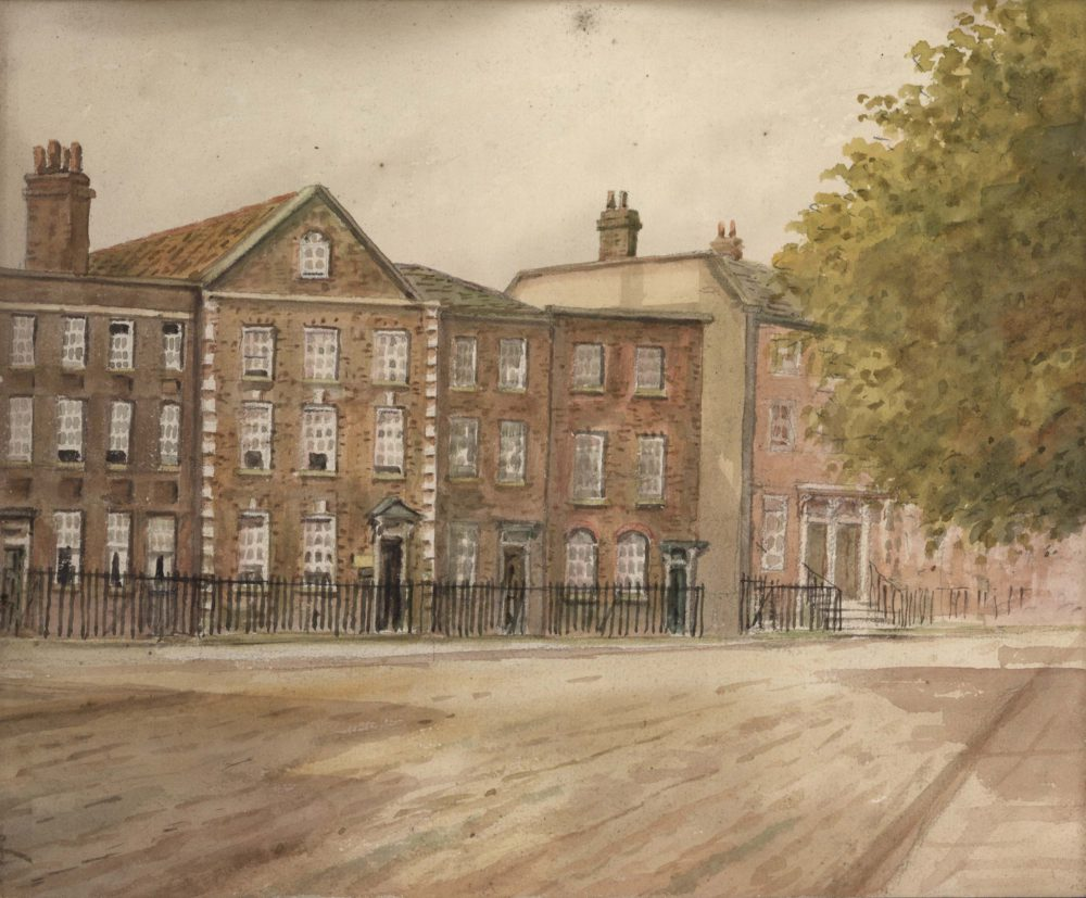 A portion of Richmond Green, showing from left to right numbers 16, 17, 18, 19, entrance to post office and telephone exchange, 1926