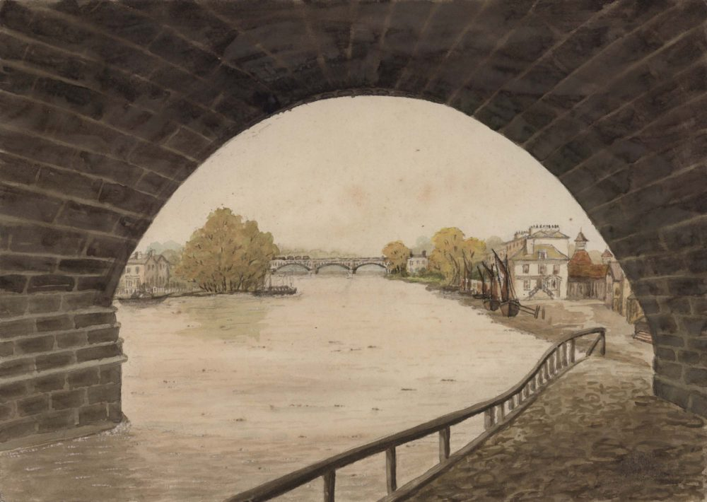 Richmond, Surrey looking towards railway bridge showing White Cross Hotel with old mort houses in rear about 1855