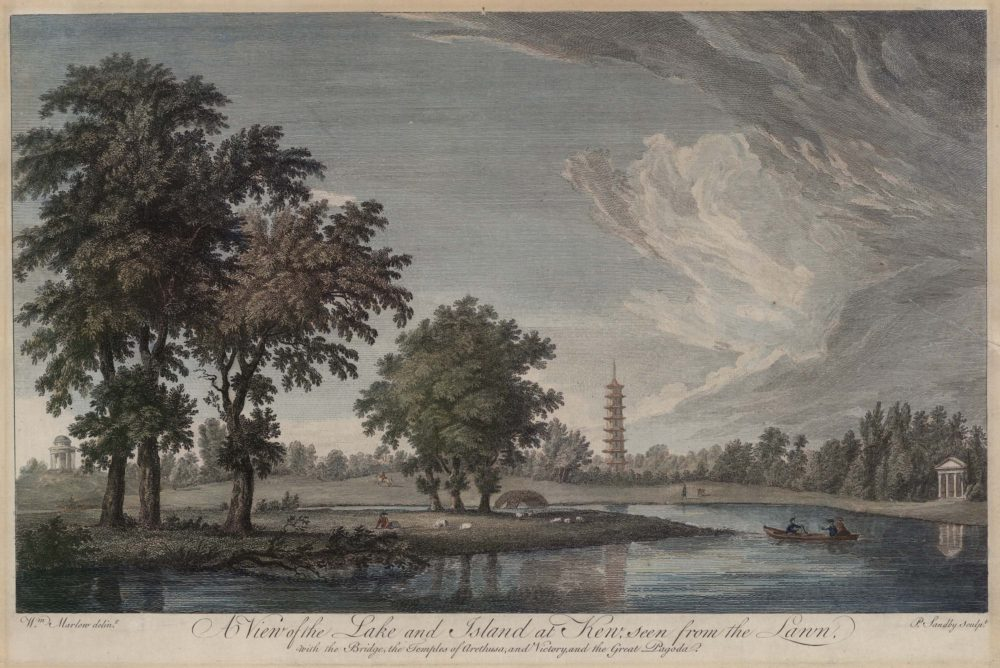 A View of the Lake and Island seen from the Lawn, with the Bridge, the Temples of Arethusa, and Victory, & the great Pagoda, in the Royal Gardens at Kew