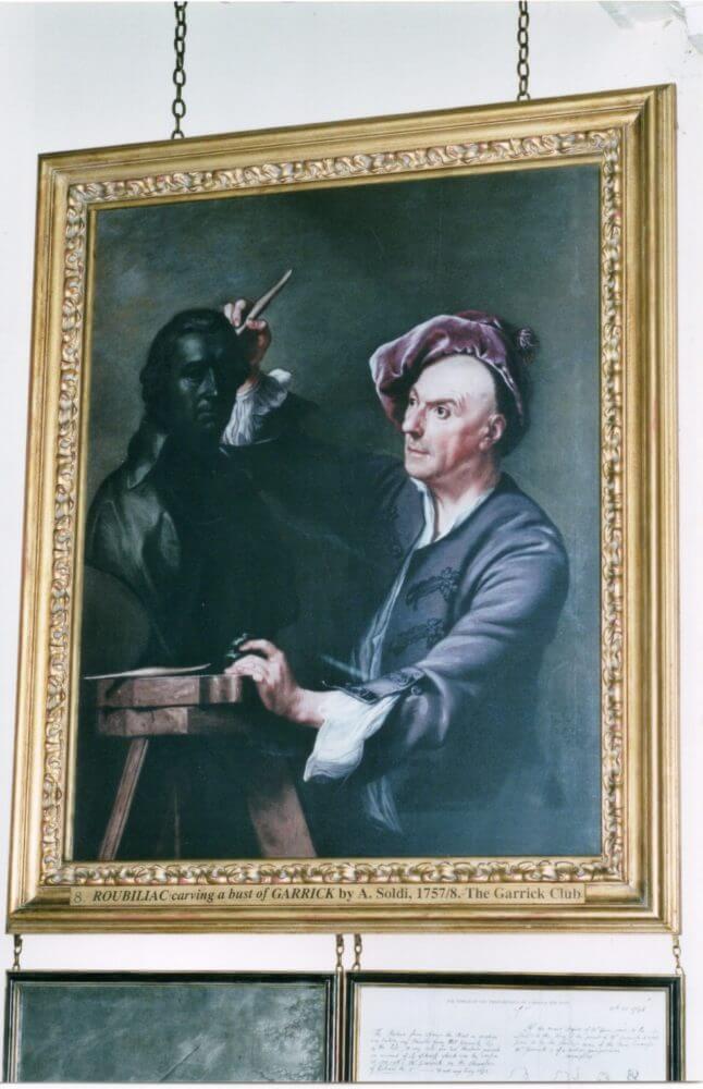 Roubiliac carving a bust of Garrick