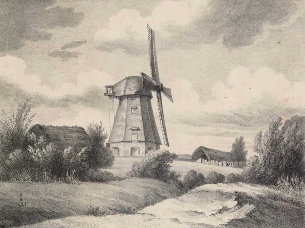 Print of a mill on Hampton Common by de Koster from 1823