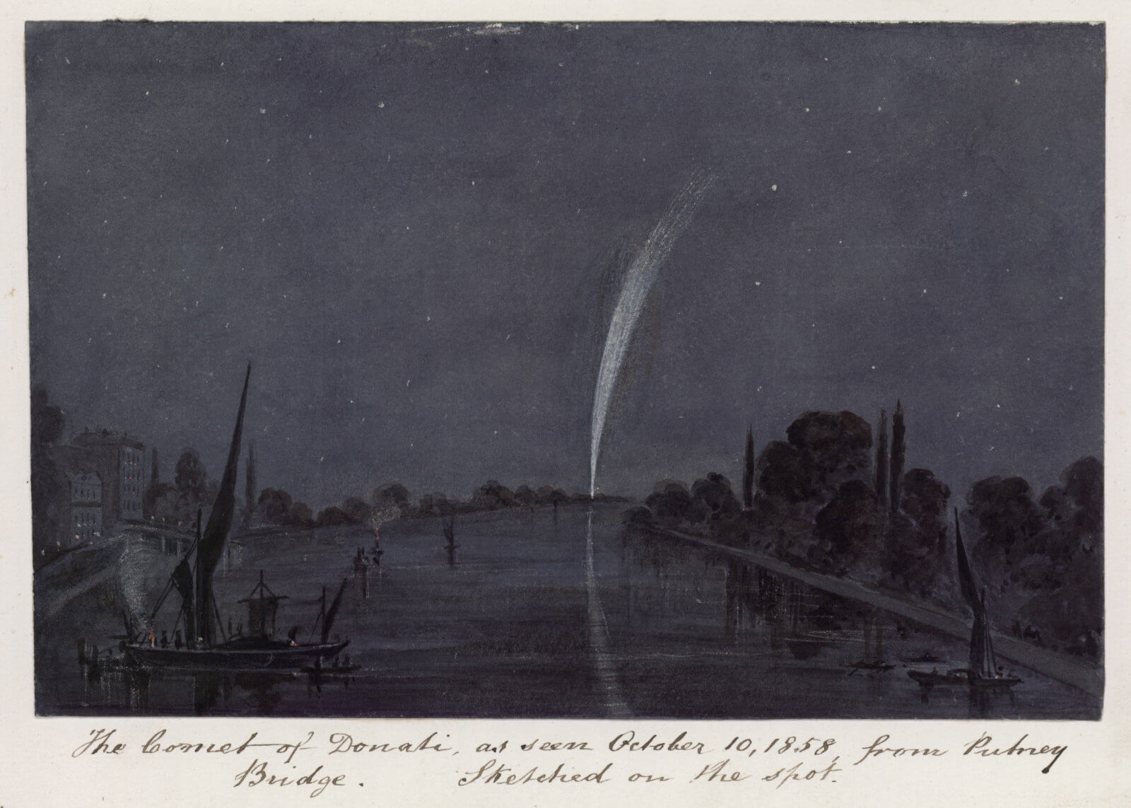 Comet of Donail over the Thames at night from Putney Bridge, 1858