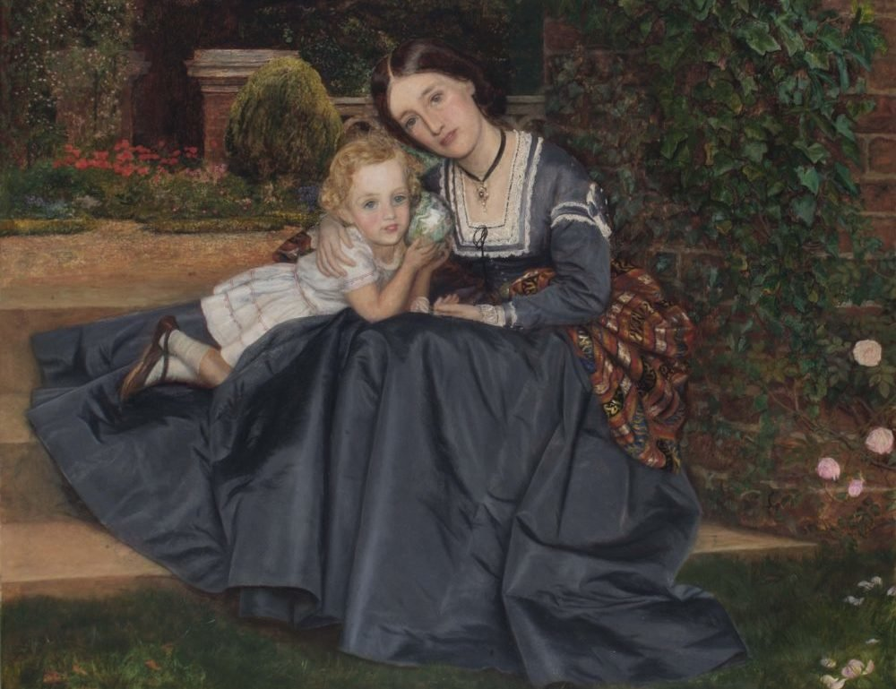 Mother and Child Seated in Garden, Arthur Hughes